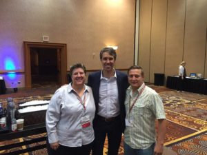Carrie Hamblen of Las Cruces Green Chamber of Commerce, Congressman Beto O'Rourke of El Paso, and Ben Gabriel at Rendezvous 2016