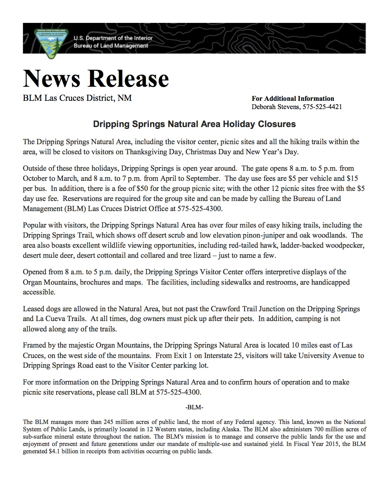 dripping springs natural area holiday closures friends of organ